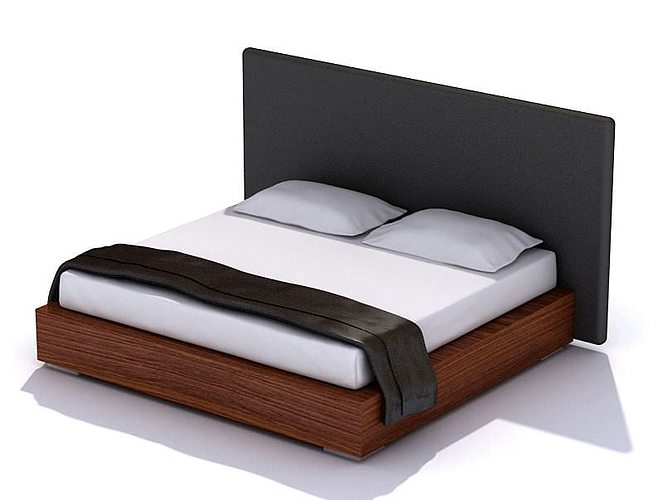 Exceptionnel Dark Wood Bed With A Black Headboard 3D Model