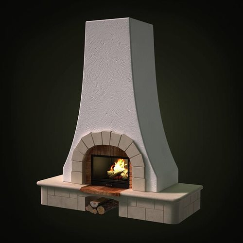 Tall Stone Fireplace 3D model   CGTrader