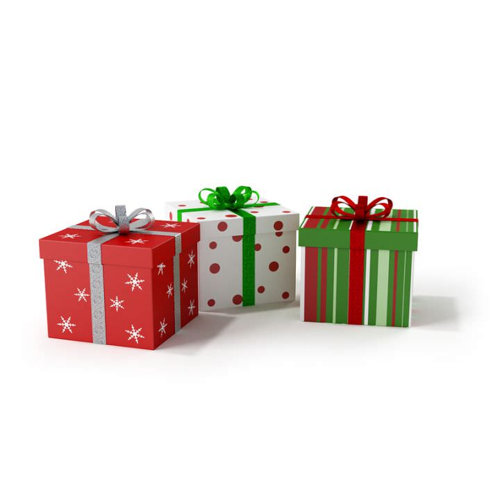 3D model Three Square Wrapped Christmas Gifts | CGTrader