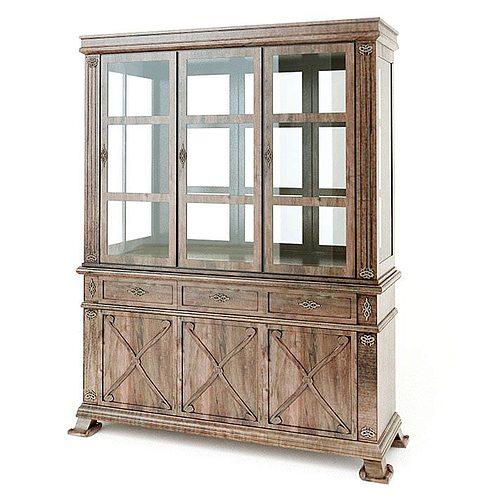 furniture antique wood curio cabinet 3d model obj mtl 1 - 3D Furniture Antique Wood Curio Cabinet CGTrader