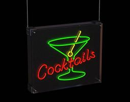 generic neon lounge sign 3d model
