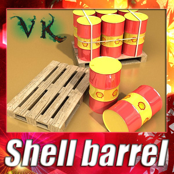 Shell Oil Metal Drums and Pallet | 3D model