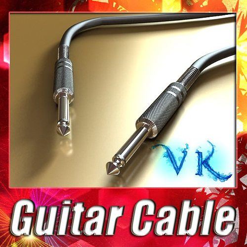 guitar cable high detail 3d model max obj mtl fbx mat 1