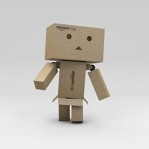 rigged danbo amazon cardboard character with controllers 3d model low-poly rigged obj mtl 3ds c4d 1