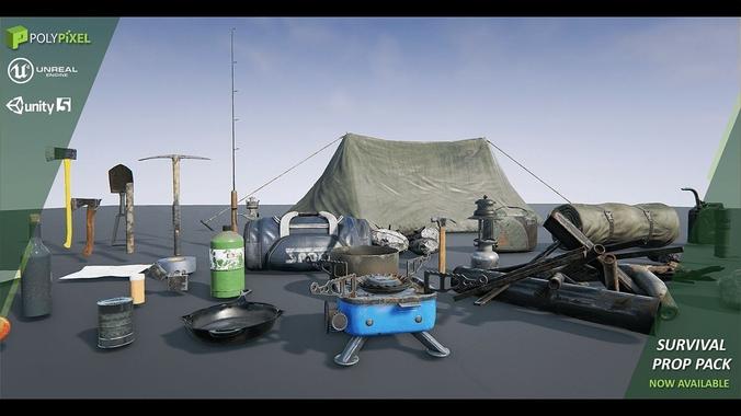 survival props 3d model low-poly obj fbx ma mb mtl tga 1