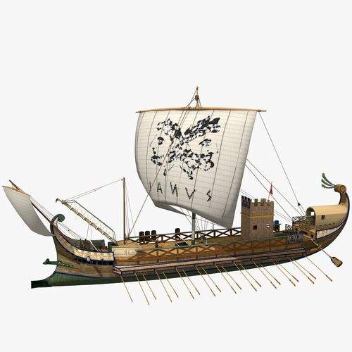 roman warship bireme 3d model max obj mtl blend wrl wrz x3d 1