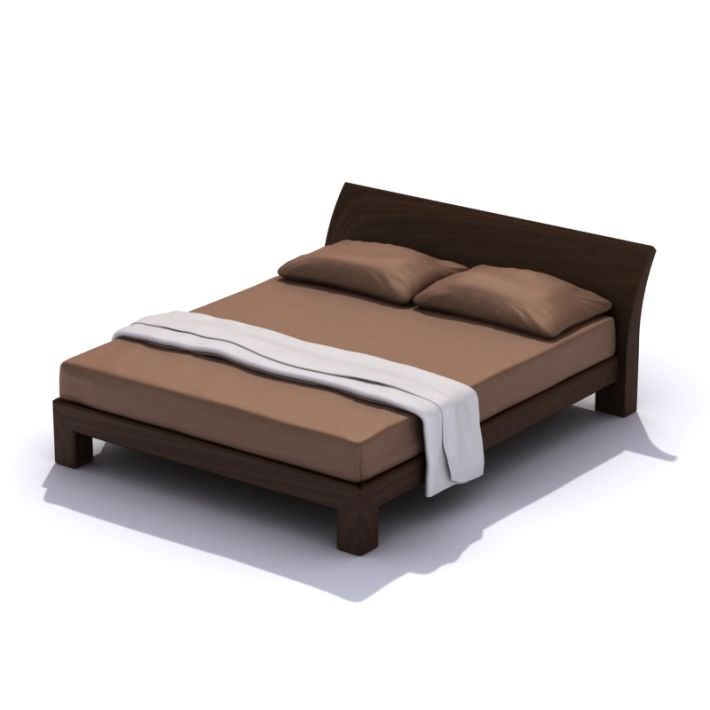 modern queen size bed frame 3d model 1 - Modern Queen Bed Frame