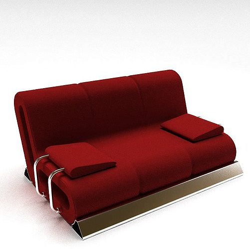 red living room sofa 3d model 1