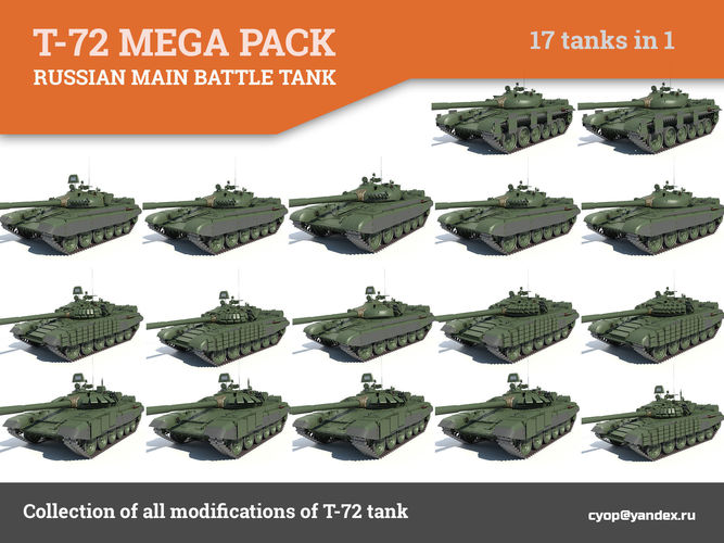 t-72 mega pack all modifications of this tank 17 in1 3d model max 1