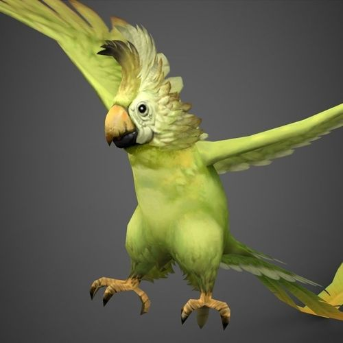 3D model Game Ready Fantasy Parrot VR / AR / low-poly MAX OBJ 3DS ...