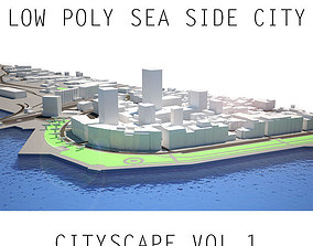 Low Poly Cityscape All Buildings are Lowpoly 3D model