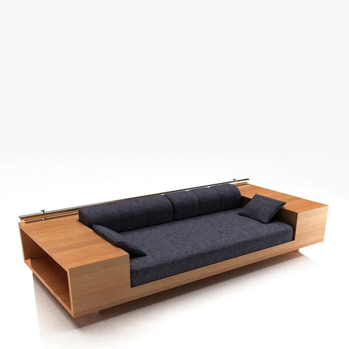 sofa with storage drawers 3d model 1