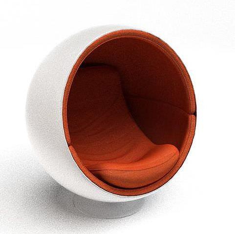 circular eggshell chair 3d model. Black Bedroom Furniture Sets. Home Design Ideas