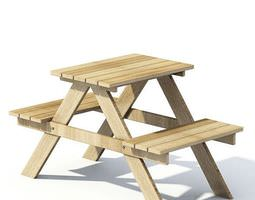 3D Wooden Picnic Table