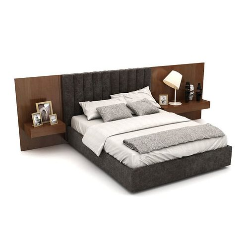 Double Bed And Headboard Model