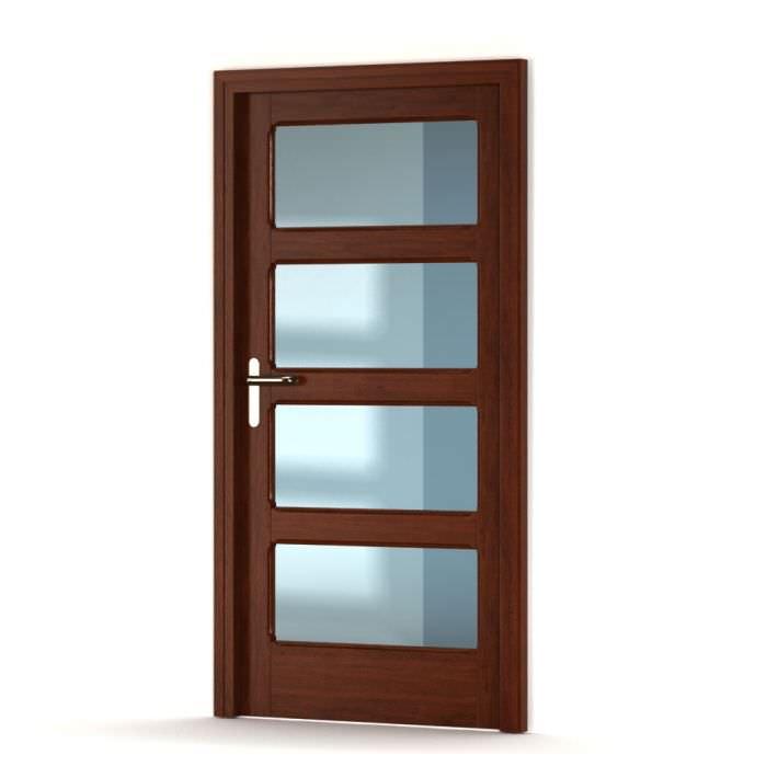 Brown Wooden Door With Glass Panels 3d Model Cgtrader