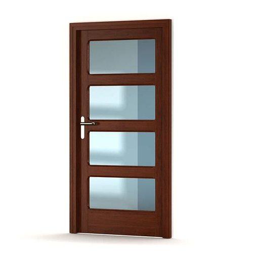 Brown Wooden Door With Gl Panels Model Obj Mtl 1