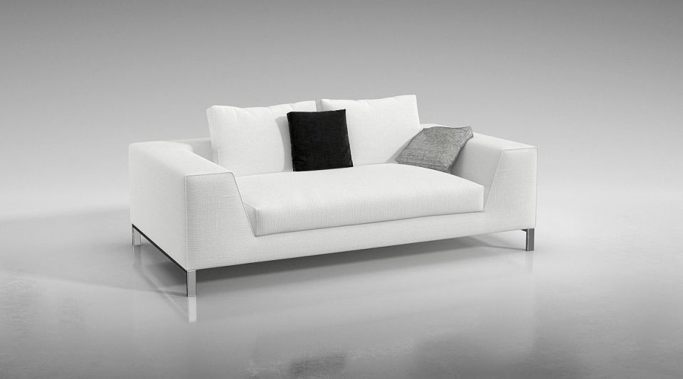 Modern White Couch Model Obj Mtl 1