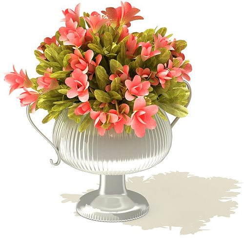 Ornate Silver Vase With Pink Flower Bouquet 3D model