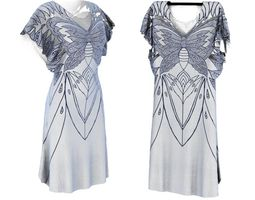 3d model white and silver detailed silk dress with butterfly design