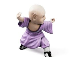 3d model purple robed monk