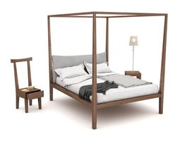Bed With Chair And Nightstand 3D model