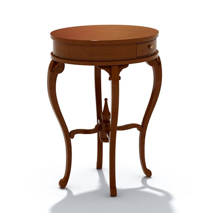 Round Table With Drawer Model