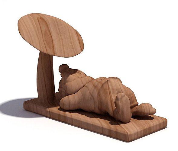wooden sculpture of a gnome 3d model  1