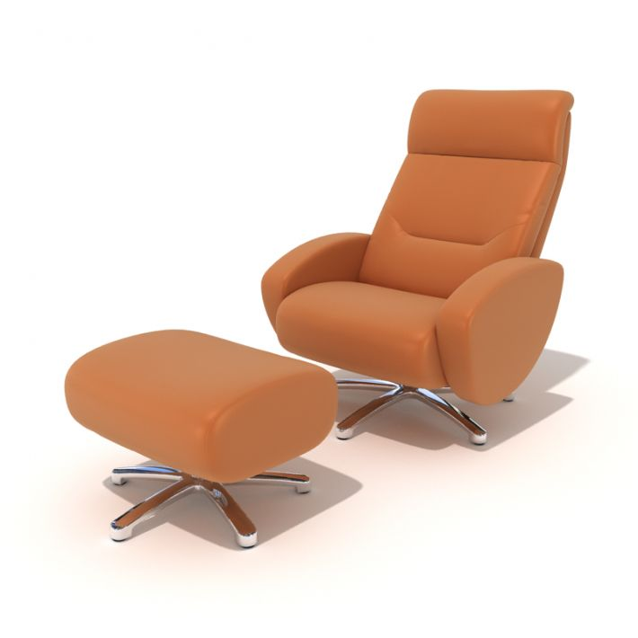 Incroyable Modern Orange Reclining Chair With Footrest 3d Model 1