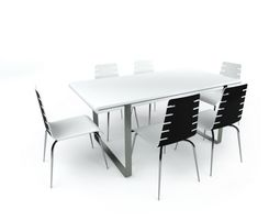 3D Small Conference Table With Chairs