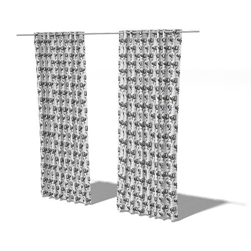 full length living room curtains 3d model  1