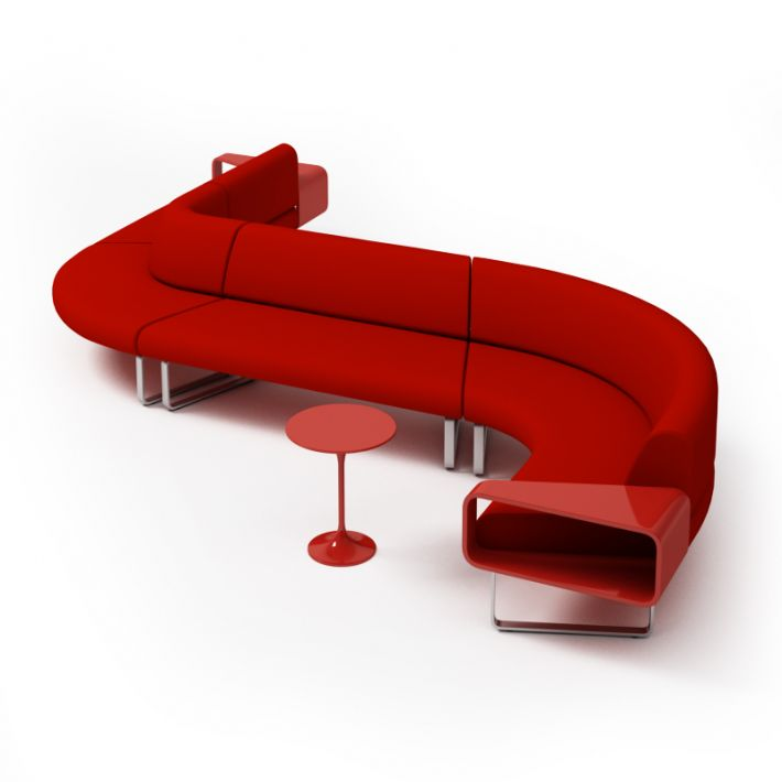 Modern Red Couch With Matching Table | 3D model