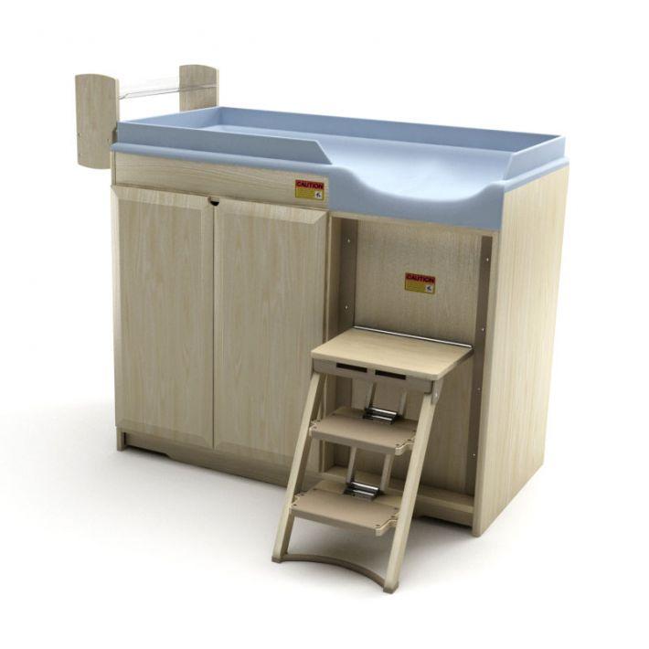 Blue Blonde Wood Modern Changing Table   3D model