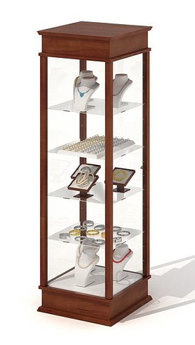 3d model wood and glass jewelry display case cgtrader for Jewelry stand 3d model