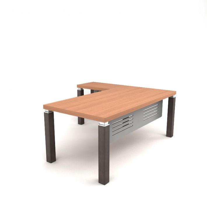 Wooden L Shaped Desk Model Obj 1
