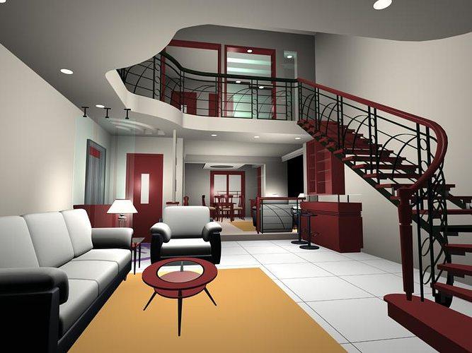 Stair 3d model living room cgtrader for Living models