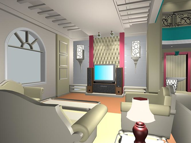 Living room 3d model 3ds for Model interior design living room