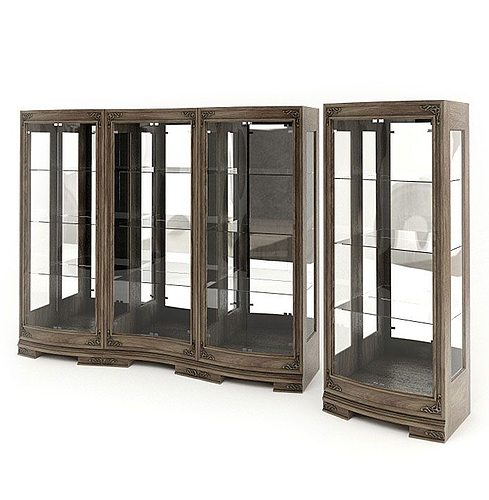 Wood And Glass Display Cabinets 3d Model Obj