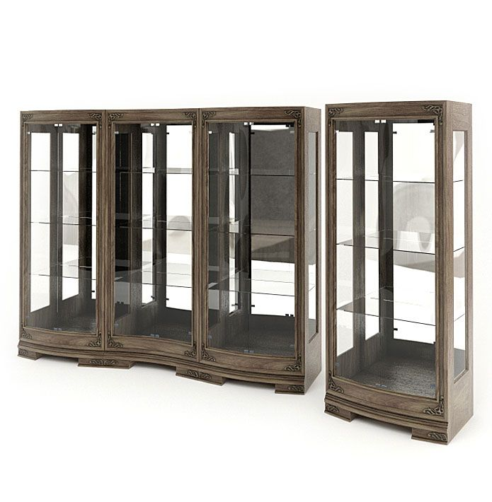 Bon Wood And Glass Display Cabinets 3d Model Obj 1