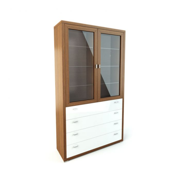 Wood Cabinet With Glass Doors And Drawers 3d Model Obj Mtl