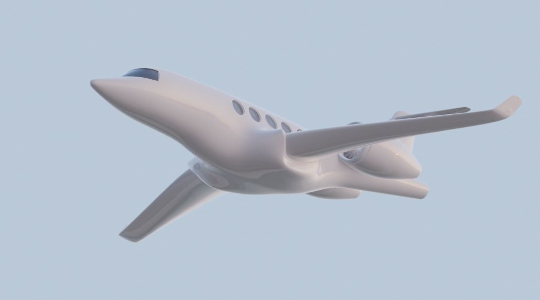 private jet high detailed low poly count 3d model