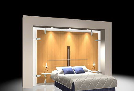 Bed With Back Wall 3d Wardrobe Cgtrader