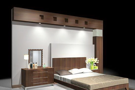 3d Model Bed Room Bed With Back Wall Cgtrader