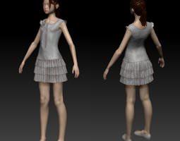girl in dress 3d