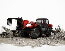3d industrial red tractor