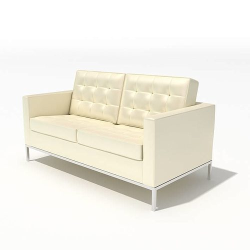 3D Model Modern Style Small White Sofa