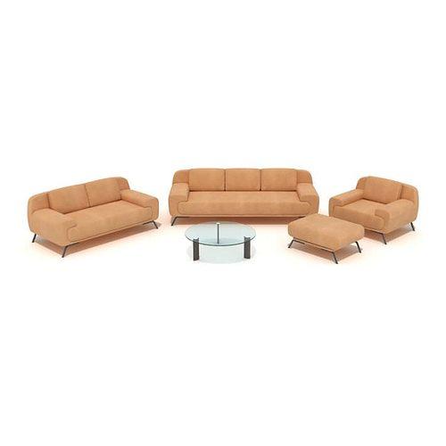 orange couch set 3d model obj mtl 1