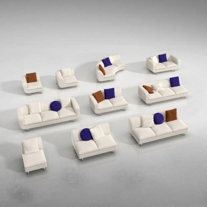 Modern Sectional White Sofa Set