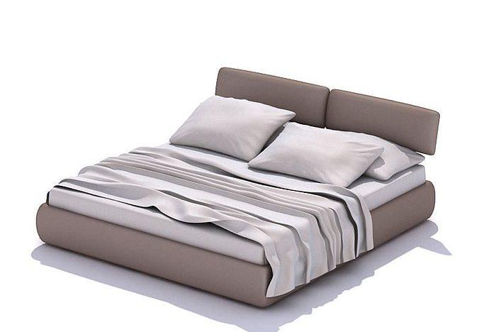 grey queen bed 3d model  1