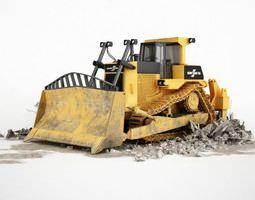3D model Metal Yellow Bulldozer